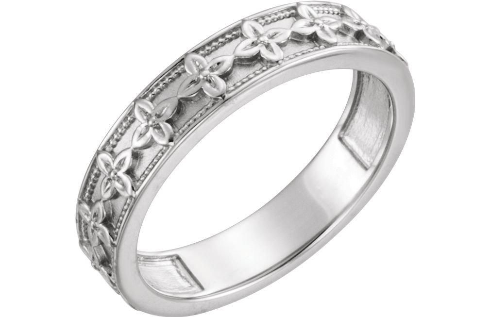 Platinum Vintage-Style Floral Brocade 4.5mm Stackable Ring, Size 8
