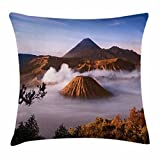 Volcano Throw Pillow Cushion Cover by Lunarable, Mount Bromo Volcanoes Taken in Tengger Caldera East Java Indonesia, Decorative Square Accent Pillow Case, 26 X 26 Inches, Pale Caramel Blue White