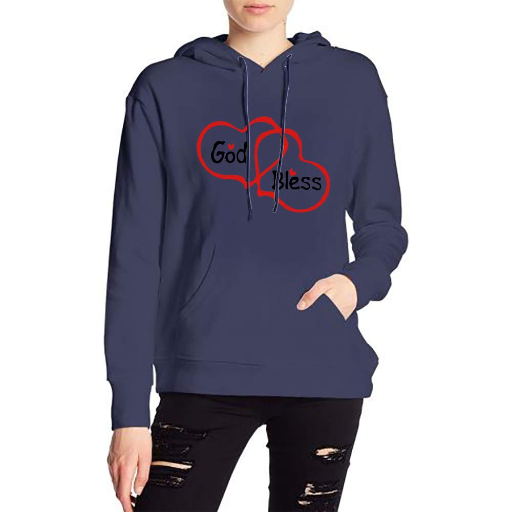 JiJingHeWang Womans God Bless Txt Doubles Hearts Sweater Sports Drawstring Hooded