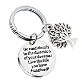 lauhonmin Compass Key Chain Go Confidently in The Direction of Your Dreams Live