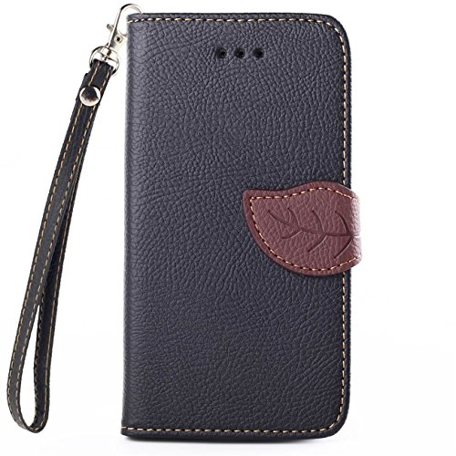 Motorola Moto G (2nd generation) Case, IVY Black - Leaves Magnetic Snap Series Wallet Card Flip Synthetic Holster Leather Stand With Lanyard Case Cover Skin For Motorola Moto G (2nd generation)