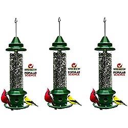 "Squirrel Buster Plus 6""x6""x28"" (w/Hanger) Wild Bird Feeder Cardinal Ring 6 Feeding Ports, 5.1lb Seed Capacity (3-(Pack))"