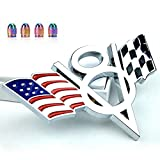 Dsycar 3D Metal V8 US Flag and Racing Flag Motorcycle Car Sticker Logo Emblem Badge Decals for Car Styling DIY Decoration Accessories - And Free Gift
