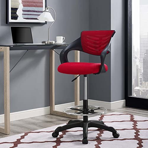 Modway Thrive Mesh Drafting Chair, Red