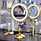 9 inch large Lighted makeup mirror the Golden vanity mirror LED lights double sided cosmetic mirror desk-top yellow light mirror mirror mirror The golden white light