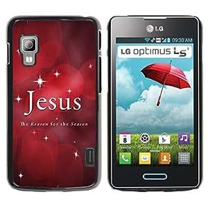 For LG Optimus L5 II Dual E455 E460 Case , Stars Christmas Faith Red Quote - Diseño Patrón Teléfono Caso Cubierta Case Bumper Duro Protección Case Cover Funda