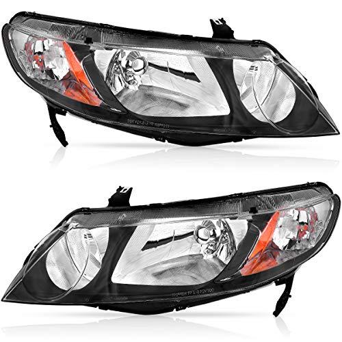 For 2006-2011 Honda Civic Sedan Headlights OEDRO (Dx, EX, EXS, GX, LX, LXS,Si) Black Housing Amber Reflector and Clear Lens Headlamp/Light,2-Yr Warranty