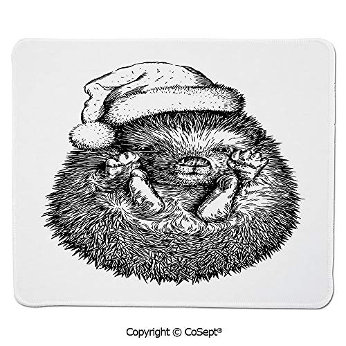 Non-Slip Rubber Base Mousepad,Monochrome Hedgehog with Winter Attire Funny Hat Cute Animal Fauna Image Print,Dual Use Mouse pad for Office/Home (7.87