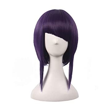 wildcos Short Dark Purple Cosplay Wig for