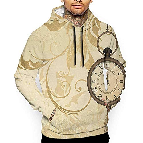(Unisex 3D Novelty Hoodies Clock,A Vintage Grungy Background Design with Pocket Watches on Chain Romantic Retro Art Print,Brown Oversized Sweatshirts for Women)