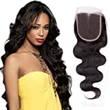 Aimeli 3 Part Body Wave Lace Closure Virgin Brazilian Human Hair 130% Density Lace Closure Natural Hair Color Soft and Silky(18inch)