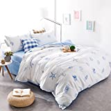 Brandream Blue And White Nautical Bedding Coastal Beach Theme Bedding Sets Hypoallergenic Bedding For Teen Adults 100% Cotton Super Soft Duvet Cover Set Sheets Set 5pcs Full Size