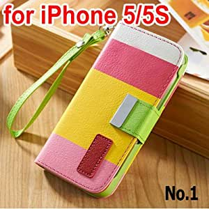 Hot Hit Contrast Painting Wallet Stand PU Leather Case For iPhone 5 5S 5G Phone Bag 10 pcs/lot --- Color:5S NO 4