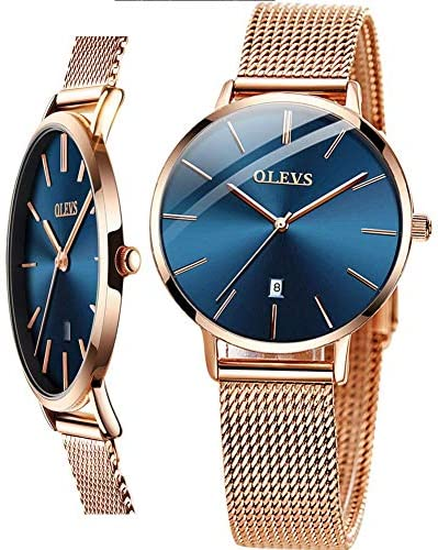Women's Watch (Luxury Upgrade Version),OLEVS Women's Dress Watches Rose Gold Gold Women Watch,Stainless Steel Mesh Ultra Thin Watches,Fashion Waterproof Ladies Wrist Watch Black White Blue Face WeeklyReviewer