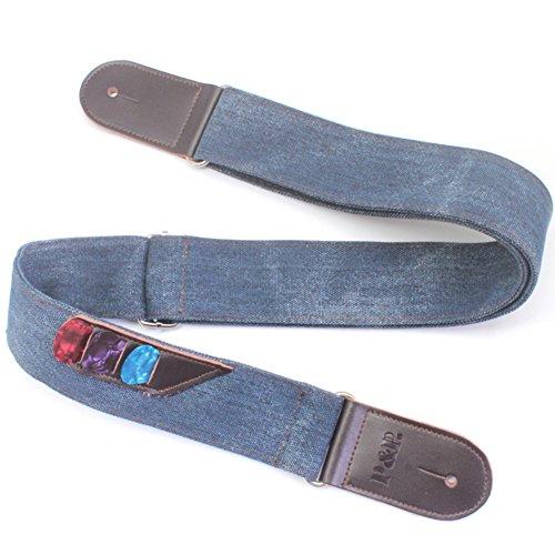 Vintage Denim Style Guitar Shoulder Strap With 3 Pick Pockets Adjustable 135-150CM/53.15-59.06in For Folk Guitar/Electric Guitar/Electric ()