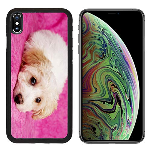 Liili Premium Apple iPhone Xs MAX Aluminum Backplate Bumper Snap Case Image ID: 17693100 Sleepy Bichon Frise Cross Puppies Laid on a Pink Mottled Background