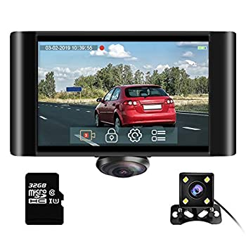 Image of On-Dash Cameras AKASO 360 Degree Dash Camera for Cars - 2K Full View Dual Dash Cam Front and Rear Car DVR Dashboard Recorder with 5 Inch Touch Screen G-Sensor Parking Monitor Loop Recording 32GB Card Included (P4)