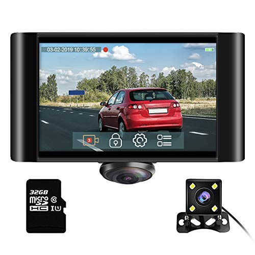 "360 Degree Dash Camera for Cars - AKASO 2K Full View Dual Dash Cam Front and Rear Car DVR Dashboard Video Recorder with 5"" Touch Screen G-Sensor Parking Monitor Loop Recording 32GB Card Included"