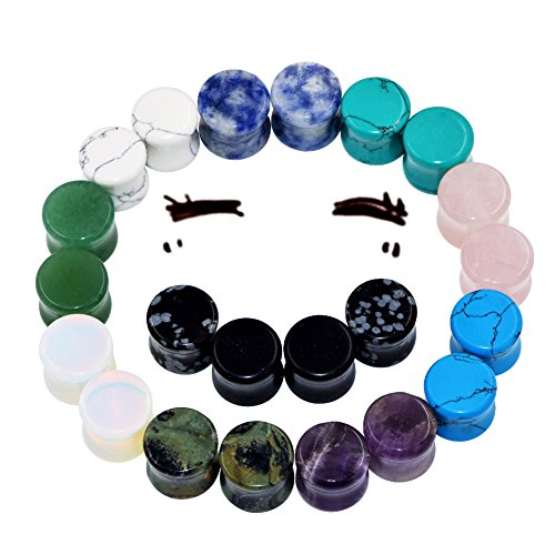 22pcs Organic Stone Tunnels Plugs Ear Expander Multi-Colors Body Piercing 2g-5/8'' (11Pairs of Gauge=00g(10mm)) by Oyaface