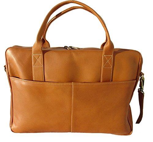 Piel Leather Top-Zip Portfolio, Saddle, One Size