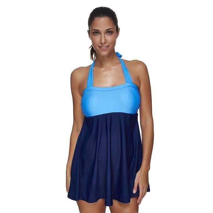 Lover-Beauty Conjunto Bikini Mujer Una Piezas Estampado Falda Verano Talla Grande XL-4XL Volante Flounce para Playa Ropa de Baño Punto Floral Dama ...