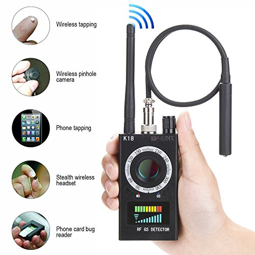 GF-LINK Bug Detectors Anti-spy Detector Camera GSM Audio Bug Finder GPS Signal Lens RF Scanner Tracker Detect Wireless Products EU (Frequency Finder Bug)