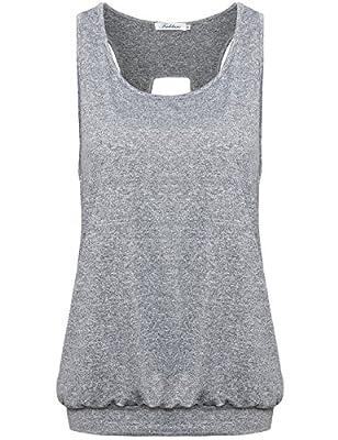 Faddare Women's Comfy Scoop Neck Open Back Burnout Workout Yoga Tank Tops Shirt