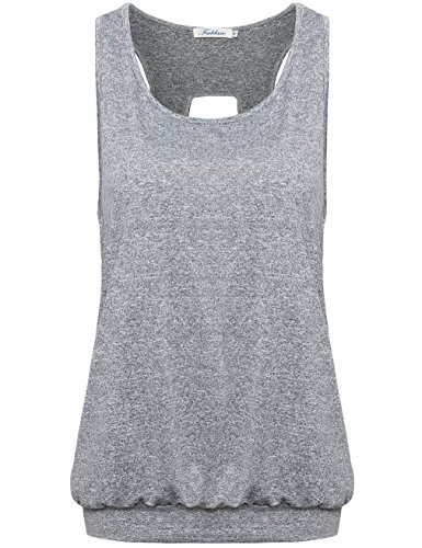 Faddare Sleeveless Shirts For Women, Classic Space Dye Training Clothes For Teens,Grey - Bottoms Running Womens