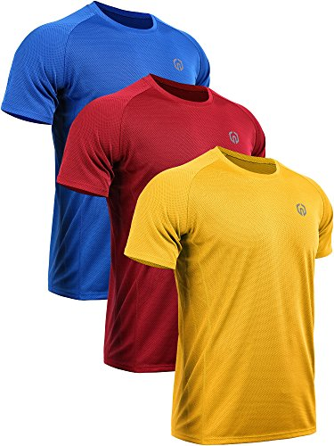Neleus Men's 3 Pack Mesh Quick Dry Athletic Running Workout Shirt,5033,Blue,Red,Yellow,US XL,EU 2XL ()