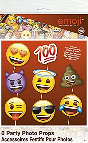 Emoji Party Supplies - Emoji Faces Photo Booth Props, 8pc - Party Supplies