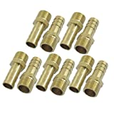 "10 Pcs Gold Tone Brass 10mm Fuel Gas Hose Barb 1/4"" PT Male Thread Coupling Fitting"