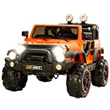 Uenjoy Jeeps Ride on Cars 12V Children's Electric Cars with Remote Control Head Lights Model HP-002 Orange