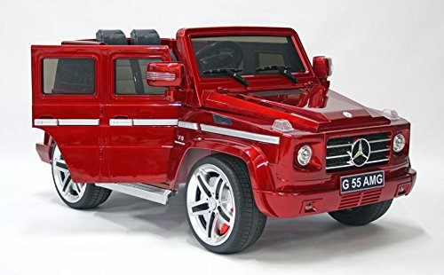 Model 12v Ride on Car Mercedes G55 High Doors , Licensed Toy for Kids, Boys and Girls with Music, Lights, Leather Seat, Rubber Tires - Red