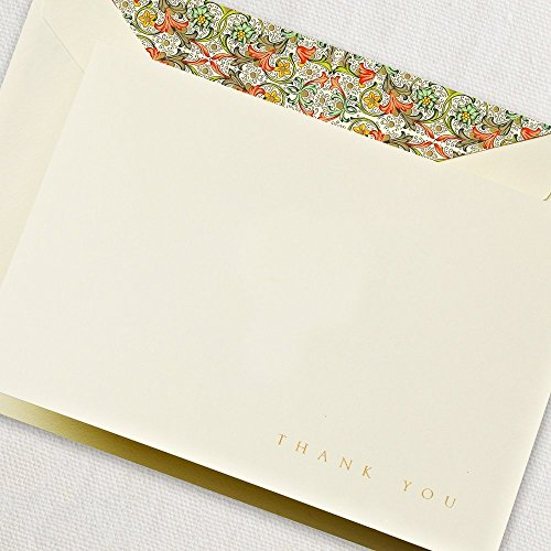 Crane & Co. Engraved Red Florentine Fold Over Thank You Note- Pack of 20 Cards