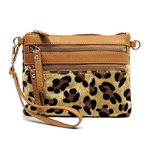 Faux Calf Hair Leopard Clutch Wristlet Mini Shoulder Bag Animal Printed Purse (Tan)