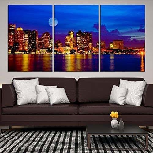 Home Decor Boston: Amazon.com: Large Wall Art Boston Skyline Canvas Print For