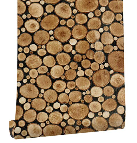 HaokHome 61101 Faux Stacked Chopped Log Woods Wallpaper Peel Stick Wall Murals 17.7