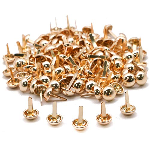 JETEHO 200 PCS Round Head Bag Feet Purse Handbag Feet - 12 MM - Metal Studs Rivet for Leather Craft DIY Leathercraft Findings