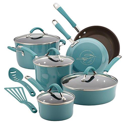 RACHAEL RAY Premium 12 Piece Cookware Set Food Network Nonstick Hard Porcelain Enamel Cookware 12 Piece, Agave Blue, Glass Lid