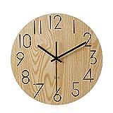 Imoerjia Mute Wall Clock Wooden Bedroom Living Room Wall Clock,35Cm