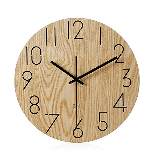 Imoerjia Mute Wall Clock Wooden Bedroom Living Room Wall Clock,35Cm by Imoerjia