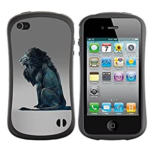 LASTONE PHONE CASE / Suave Silicona Caso Carcasa de Caucho Funda para Apple Iphone 4 / 4S / Lion Blue King Abstract Grey King