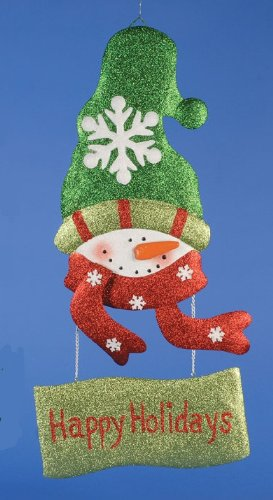 "25"" Glitter ""Happy Holidays"" Jolly Snowman Hanging Christmas Door Decoration"