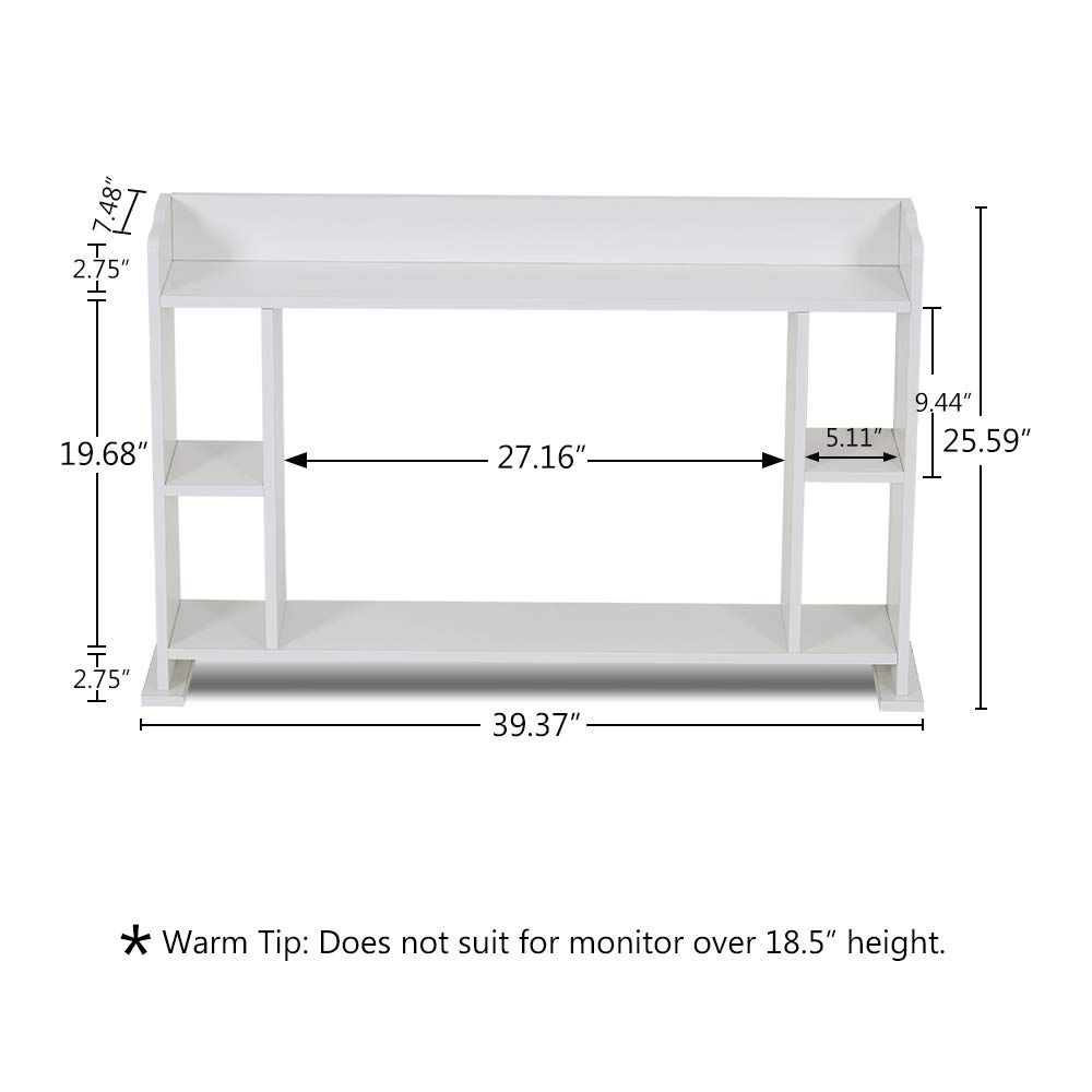 Laptop PC Stand with Desktop Display Shelf Rack Office Supplies Desk Organizer Tribesigns 39 Monitor Stand Riser with Adjustable Storage Shelves White