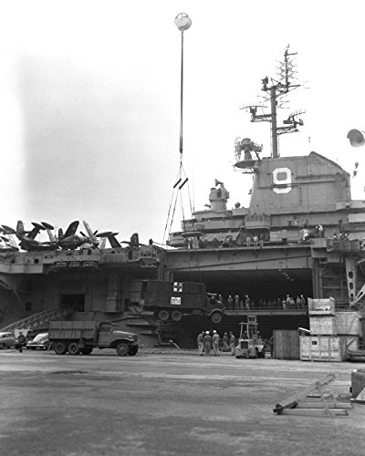 Home Comforts Laminated Poster The U.S. Aircraft Carrier USS Essex (CV-9) at Yokosuka, Japan, on 29 September 1951. Note The Detail Vivid Imagery Poster Print 24 x 36