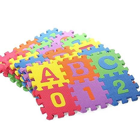 Drawoz 36 Pcs Baby Alphabet Number Educational Puzzle Foam Mats Blocks Toy Crawling Mats