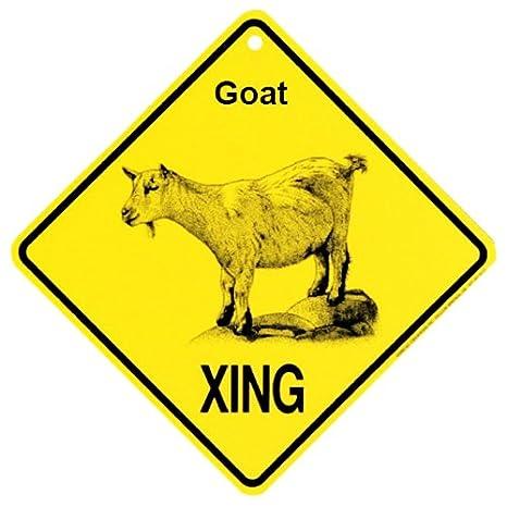 Amazon.com: Cabra Xing precaución Crossing Sign Placa de ...