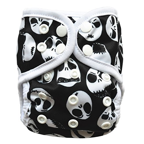 Newborn Cloth Diaper Cover With Double Gusset,Suitable for Weight 8-10lbs (Skulls)