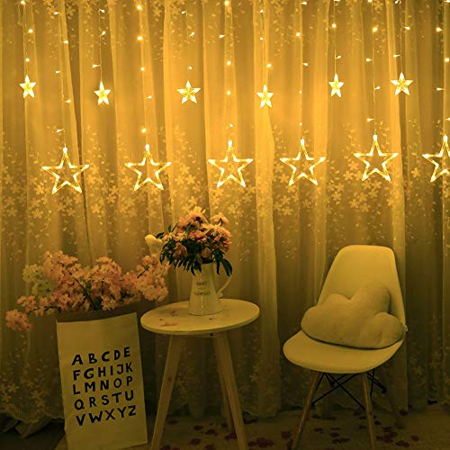BHCLIGHT Star Curtain Lights 12 Stars 138 LED Star String Lights 8 Modes Stars Shaped String Lights Plug In Curtain Lights For Bedroom, Wedding, Party, Christmas, Decorations for The Home (Warm White)