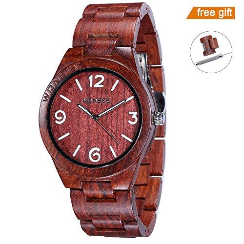 WONBEE Wooden Watch for Men/ Women-Handmade Wood Watches-Wood Watchband-Wood Bezel-Luminous Display-Red Sandalwood-ARABTOON Series